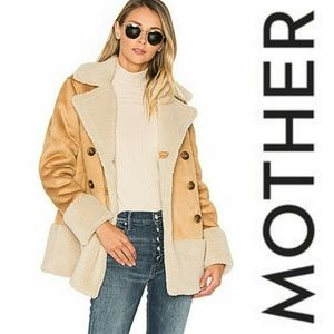 Mother Shearling Faux Suede Button Up Jacket Coat
